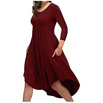 Oyedens Women Ladies Fashion Round Neck Dress 7-Sleeve Solid Color Dress Red by Oyedens