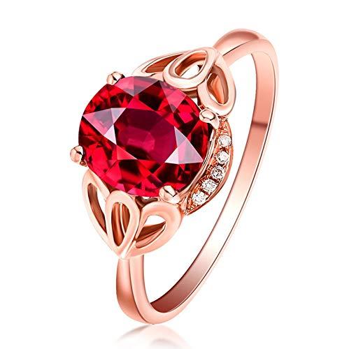 KnSam Bague Femme Fine Tourmaline Rouge Naturelle 1.18ct Rose, Or 18 Carats Élégance Cadeau Noël