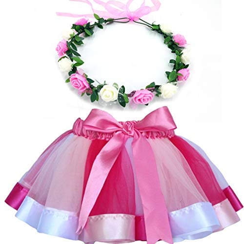 MY-PRETTYGS Layered Tulle Ballet Rainbow Tutu Skirt with Flower Crown Wreath Headband (Pink, M,2-4 T)