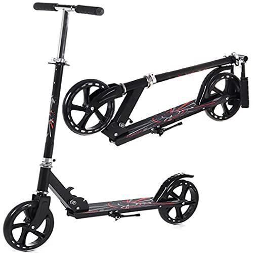 Retoo Faltbare Roller mit 3 Höhenverstellbare und höhenverstellbarer bis 150kg Gewicht, Erwachsene Kickscooter mit 200mm Rädern, Aluminium Kinder Roller, Kinderscooter, Scooter ab 5 Jahren (Schwarz)