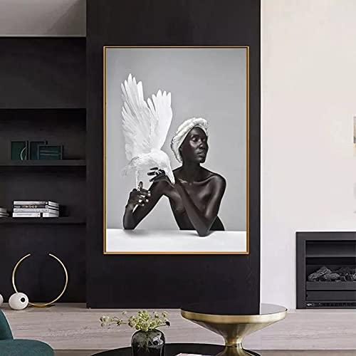 HANDADA Pintura Minimalista Grabado Estilo de Moda Pintura de Lienzo de Frontera/Lienzo de Mujer Negra Africana Águila Blanca Moderna/Impresión de Arte Cartel Decoración del hogar Regalos