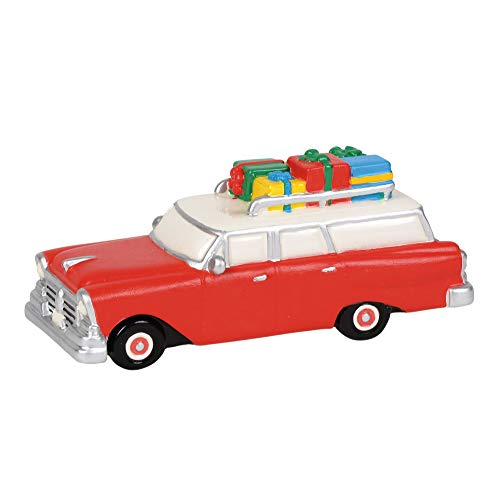 Department56 Snow Village Accessories Christmas Family Station Wagon Figurine, 2.25 Inch, Multicolor