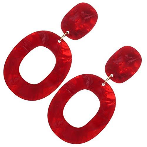 Boburyl Mujeres Niñas Retro Simple de acrílico del círculo Pendientes del aro geométrica cuelgan del oído del Perno Prisionero del Pin joyería y Accesorios