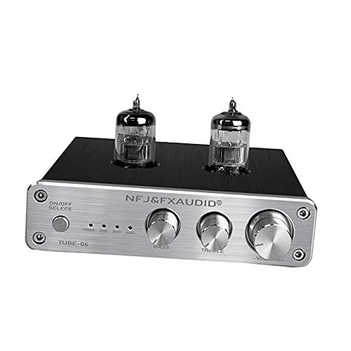 FLAMEER Preamplificador de Audio Compacto 6N3 Receptor estéreo Integrado Accesorios de Alta fidelidad Entrada para Tocadiscos domésticos Auriculares Teléfonos - Plata