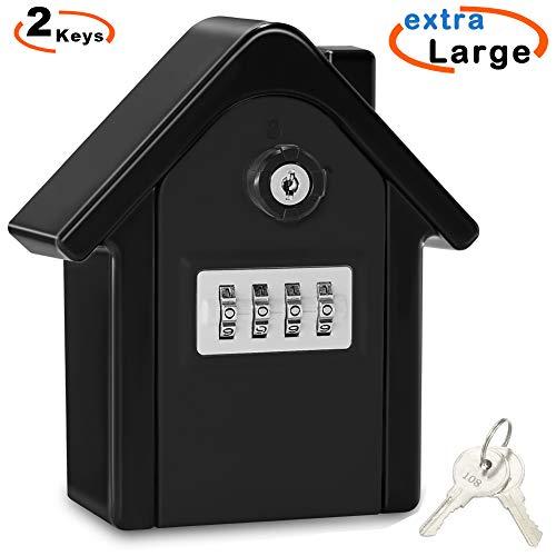 Schlüsseltresor, Faneam Schlüsselsafe mit Zahlencode außen Groß Kapazität Safe für Schlüssel, Schlüsselbox Wandmontage für Aussen Innen Auto Garage Home Office Schlüssel und Zugangskarte (Black02)