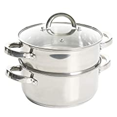 3 Qt. (quart) Casserole W/ Lid & Steamer Insert Steamer set with lids Material: Stainless Steel Hand wash Recommended. Ideal for any kitchen Dual purpose as Dutch oven with glass lid. 3QT Casserole 8.5' in diameter x 3.7' Height = Piece by itself, 3Q...