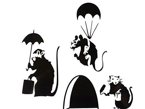 uksellingsuppliers Wandaufkleber mit Mausloch, Banksy, Set mit drei kleinen Banksy-Ratten mit Farbdose und Rolle/Fallschirmjäger/Schirm, Sockelleiste, Vinyl, 3 x 11 x 5 cm