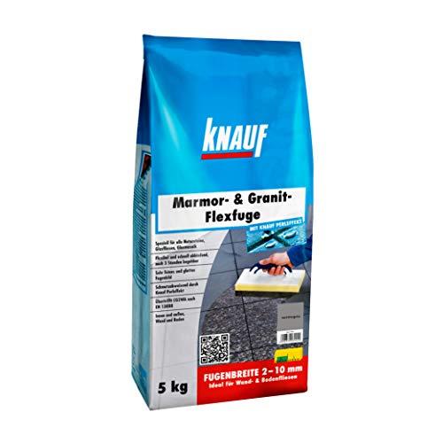 Knauf Marmor- & Granit-Flexfuge – Spezial Fugen-Mörtel auf Zement-Basis für Marmor, Granit, Natur-Steine, Glas-Fliesen und Glas-Mosaik, schnellhärtend, mit Perl-Effekt, Carrara-Grau, 5-kg