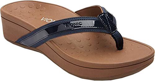 Vionic Women's High Tide Arch Support Thong Wedge Sandal (9 B(M) US, Navy/Black)