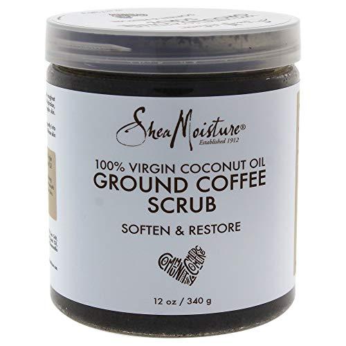Shea Moisture 100% Virgin Coconut Body Oil for Unisex, Coffee Scrub, 12 Ounce
