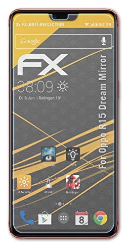 atFolix Panzerfolie kompatibel mit Oppo R15 Dream Mirror Schutzfolie, entspiegelnde & stoßdämpfende FX Folie (3X)