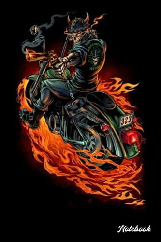 Notebook - Motorcycle Biker Motocross Motorbike Rider Notebook, Skull biker 4: Notebook Blank Lined Ruled 6x9 114 Pages