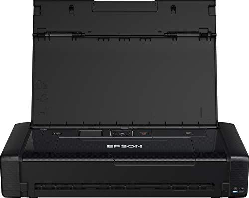 Epson WorkForce WF-110W tragbarer/mobiler Tintenstrahldrucker (DIN A4, WiFi Direct, Drucker, mobiles Drucken, USB, integrierter Akku, nur 1,6 kg Gewicht) schwarz