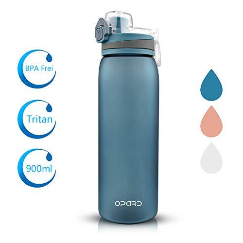 Opard Trinkflasche Sport 900ml -Wasserflasche aus Tritan BPA-Frei, Auslaufsicher Sportflasche für Kinder, Sport, Fitness, Fahrrad, Fußball, Outdoor (Hell Blau)
