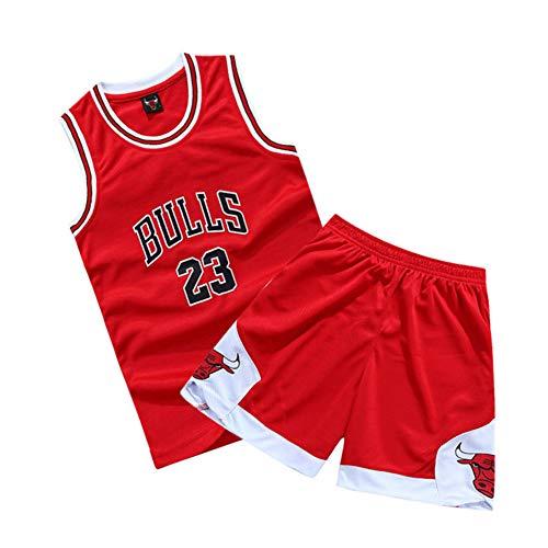 XCR Niños Chicos Niña Hombre Adulto NBA Michael Jordan # 23 Chicago Bulls Jersey Retro Swingman Pantalones Cortos de Baloncesto&Camisetas Set Verano Uniformes Tops de Baloncesto (Red, 2XL (Niños))