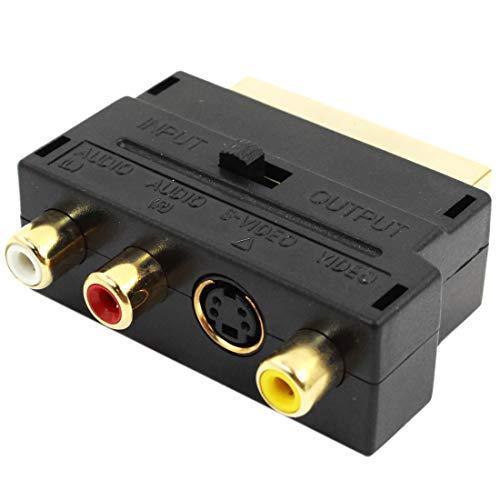 WOVELOT Negro Euroconector 20 Pin Macho a 3 RCA AV Hembra + Adaptador de S Video