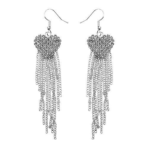 Damen Ohrringe Mode AnhäNger OhrhäNger Schmuck Geschenke Luxus Quaste Ohrringe Lange Strass Ohrringe Eingelegt Strass Damen Ohrring Silber
