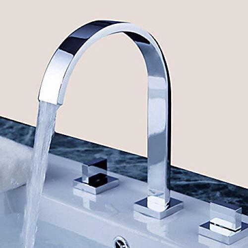 RENXR Wasserfall Chromwannenhahn, Badezimmerwaschtisch Armaturen, Dreiloch Tap DREI Löcher/Zwei Griffen, DREI Löcher Badarmaturen