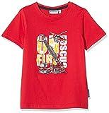 Salt & Pepper Stickerei und Feuerwehrauto Applikation T-Shirt, Rosso (Fire Red 377), 128 (Taglia Unica: 128/134) Bambino
