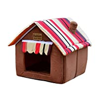 ペット ハウス 室内用 犬用部屋 ドッグ ハウス キャットハウス 枕付き 猫の基地 可愛い ハウス 双屋根 三角屋根 猫の寝床 快適 マット付き コーヒー色 犬用 M 床 猫用 床 滑り止め オシャレ ボーダー柄 ペットの別荘