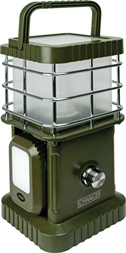 SCHWAIGER –CALED100 511-4-teilige LED-Campingleuchte mit abnehmbaren Leuchten und Bluetooth Lautsprecher | teilbarer Tragegriff | dimmbar | Notfall-Powerbank-Funktion | IP44 | Outdoor | Olive grün