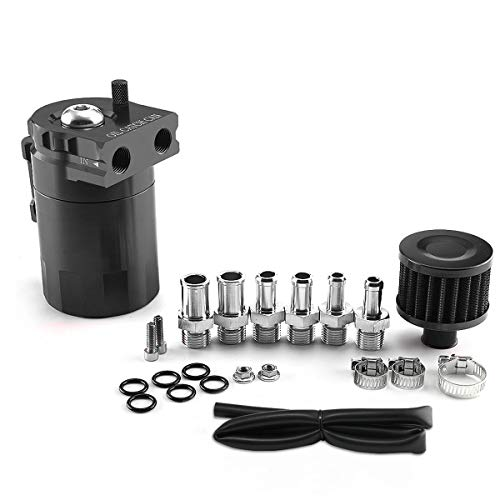 YAXEDXUL Universal Car Oil Catch Can Fuel Tank with Breather Aluminum Polished Baffled Engine Air Oil Separator Filter
