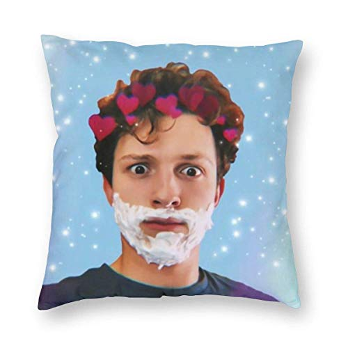 maichengxuan Soft Velvet Sofa Bed Cushion Cases for Bedbugs Hypoallergenic, Cute Tom Holland Shaving Cream Photo Farmhouse Home Decorative Square Pillowcases, 18 X 18 Inch