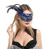 6 Piezas Máscaras Venecianas de Plumas con Lentejuelas y Cu