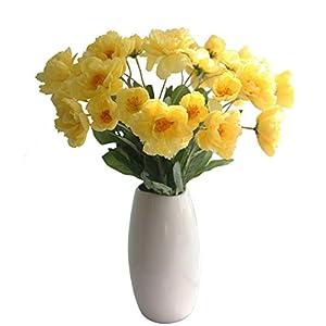 "cn-Knight Artificial Poppy Flower 12pcs 21"" Long Stem Silk Papaver with 2 Blossoms for Veteran Day Home Decor Centerpiece Housewarming Wedding DIY Bridal Bouquet(Yellow)"