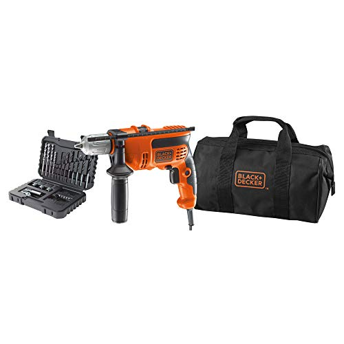 BLACK+DECKER KR714S32-QS - Taladro percutor 710 W con 32 accesorios y bolsa de transporte