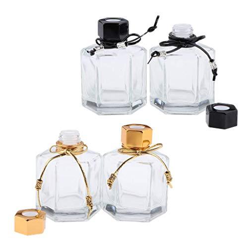 Backbayia - Juego de 4 tarros y Botella vacía para cosméticos, Botellas de Viaje para Perfume de Aceite Esencial