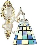 Lámpara industrial, Tiffany Mediterráneo Estilo de pared Lámpara de pared Retro europeo Mosaico Forma de pared Forma de pared Luz pintada Lámpara de vidrio E27 Cabeza única Hierro forjado Hecho a mano