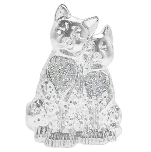 Millie Crystal Pair of Cuddling Cats in Silver Sparkle Finish Twin Cats Figure Ornament Gift