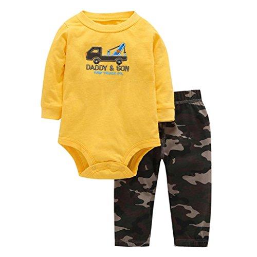 URSING Baby Kinder Neugeboren Jungen Brief Gelb 'Daddy Son Stickerei Lange Ärmel Spielanzug Pulloverhemd Overall  + Tarnung Hose warm einzigartig draussen Kleider Set (18M, Gelb)