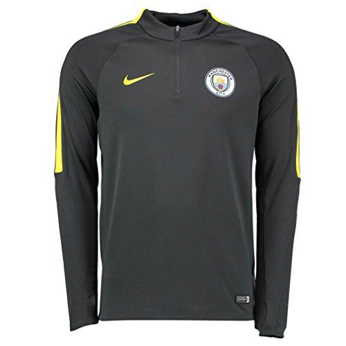 NIKE MCFC M Dril Top SQD Camiseta de Manga Larga Manchester City, Hombre, Gris (Anthracite/Anthracite/OPTI Yellow), L