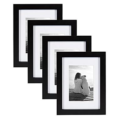 DesignOvation Gallery Wood Picture Frame (Set of 4), 5  x 7 , Black