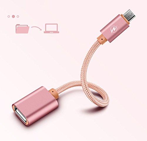 Superior Micro USB zu USB, ZRL Nylon geflochten Micro USB 2.0 OTG Kabel auf dem Go Adapter USB Micro Stecker auf Buchse USB für Samsung S7 S6 Edge S4 S3 Android etc 6 Zoll