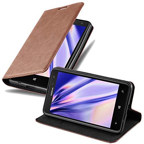 Cadorabo Hülle für Nokia Lumia 625 - Hülle in Cappuccino BRAUN – Handyhülle mit Magnetverschluss, Standfunktion & Kartenfach - Hülle Cover Schutzhülle Etui Tasche Book Klapp Style
