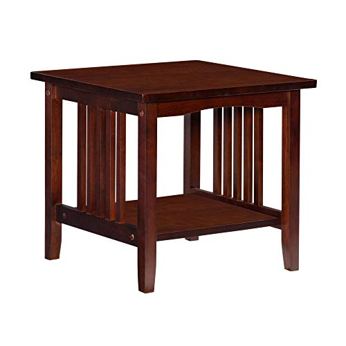Benjara BM223523 Mission Style Wooden End Table with Open Bottom Shelf, Brown