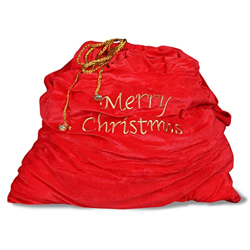 Nadasha Santa Sack Bag with Drawstring for Xmas Present Santa Cosplay Costume Accessory for Unisex Adults (Red)