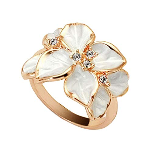 Alalaso Ring Lovely White Flower Pearl Ring Circle Stud Ring Fashion Design Engagement Classic Jewelry Accessories (White,Free)