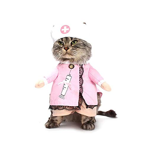 NACOCO Dog Cat Nurse Costume Pet Nurse Clothing Halloween Jeans Outfit Apparel (M)