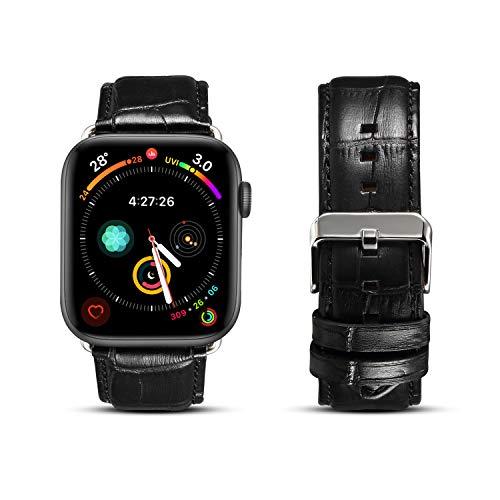 DaGeLon Compatibel met Apple Horloge Lederen Band 38mm 40mm 42mm 44mm Serie 5 4 3 2 1, Stijlvolle High Grade Krokodil Patroon Band Duurzame Prachtige Vervangende Polsband voor iWatch Sport Edition Nike+