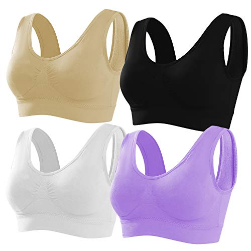 NanaDay Women's 4-Pack Seamless Wireless Bras with Removable Pads Comfortable Sports Bra (BlackWhiteNudePurple, 2XL)