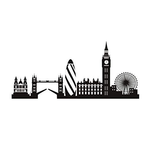 UYEDSR Pegatinas de Pared Etiqueta de la Pared de Londres Big Ben Landmark Etiqueta de la Pared Edificio de la Ciudad decoración del hogar decoración de la Sala de Estar 25x56cm