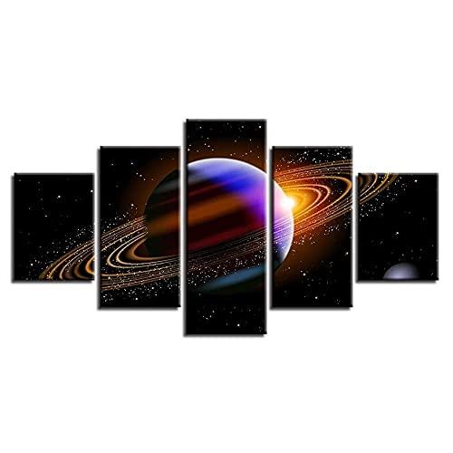 DUODUOQIAN Tierra Universo Cielo Estrellado Paisaje 5 Cuadros En Lienzo Listo para Colgar Artístico Pintura Cuadros, Modernos Estilo Salón Dormitorio Print Pared, 150×80Cm