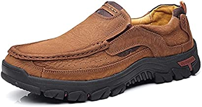 COSIDRAM Men Casual Shoes Summer Sneakers Loafers Breathable Comfort Walking Shoes Fashion Driving Shoes Luxury Black Brown Leather Business Work Office Outdoor Shoes for Male 10.5