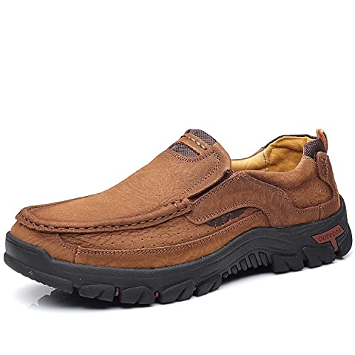 COSIDRAM Men Casual Shoes Sneakers Loafers Comfort Walking Shoes Fashion Driving Shoes Luxury Leather Shoes for Male Slip on Office Outdoor Brown 11