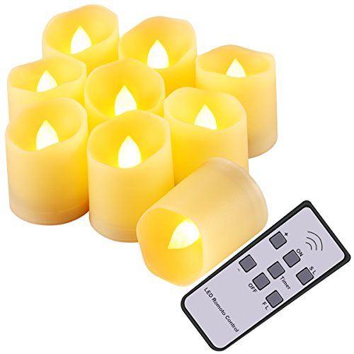 Criacr Realistic Candles with Remote, 3 Modes LED Candles Tea Lights, Flickering LED Candle Lights, Battery Flameless Candles with Timer for Halloween, Christmas, Weddings, Decorations (9 Packs)