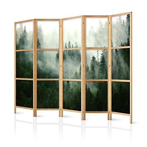 murando - Paravent XXL Wald Landschaft Nebel 225x171 cm 5-teilig einseitig eleganter Sichtschutz Raumteiler Trennwand Raumtrenner Holz Design Motiv Deko Home Office Japan c-B-0443-z-c